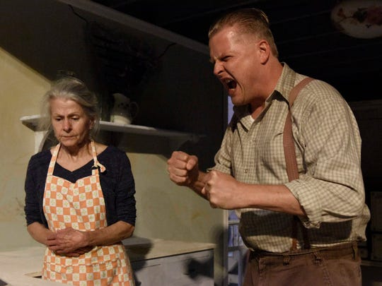 "Ouida White as Aunt Rose Comfort and Brian Landis Folkins as Archie Lee Meighan rehearse a scene in ""Baby Doll,"" an adaptation of the Tennessee Williams play. New Stage Theatre in Jackson will present the play starting tonight under the direction of Rus Blackwell."
