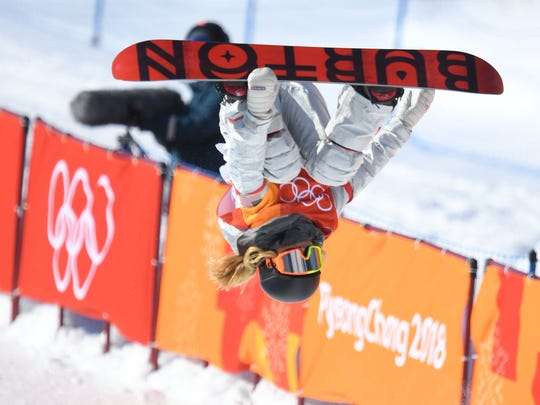 Chloe Kim (USA) competes in the halfpipe event during the Pyeongchang 2018 Olympic Winter Games at Phoenix Snow Park, Feb. 13, 2018.