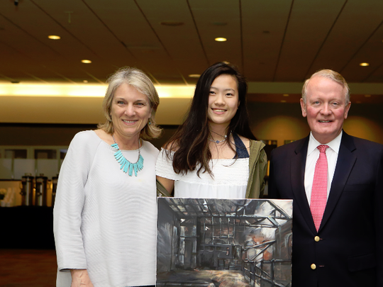 Congressman Lance pictured with 2017 Congressional Art Contest winner, Katherine Ge of New Providence.