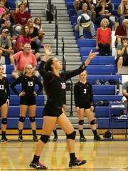 Morgan Gentile serves for Elmira during a 3-1 loss to Horseheads on Tuesday at Horseheads Middle School.