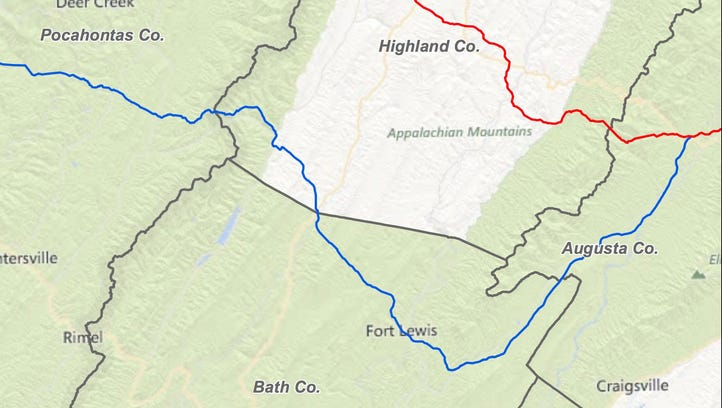 The filed route for a natural-gas pipeline through Augusta County is in red. A new alternative route through the county is highlighted in blue.
