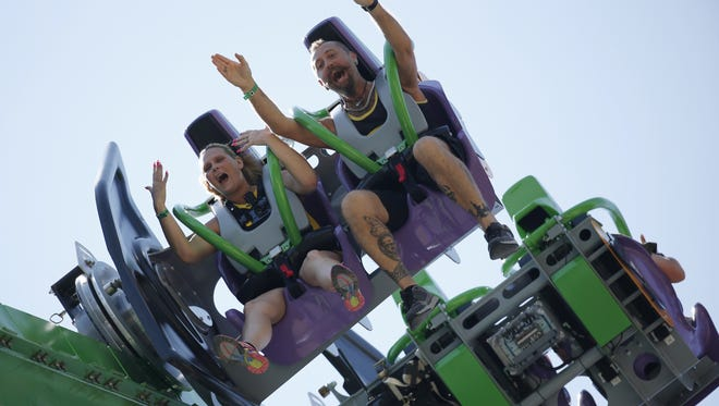 Guests ride The Joker at Six Flags Great Adventure in Jackson in 2016.