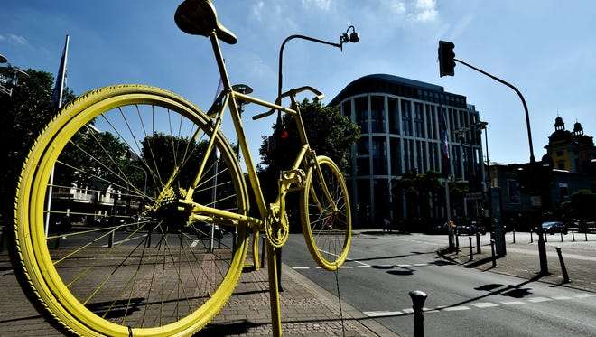 Decorations for the Grand Depart of the 2017 Tour de France are placed around Duesseldorf, Germany.