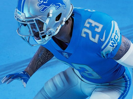 The Detroit Lions unveiled their new uniforms April 13, 2017.
