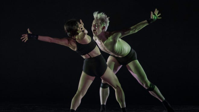 "Maine Kawashima, left, and Christian Squires are seen in an excerpt of choreographer Adam Hougland's ""Tear."" The performance took place during the 2017 Kansas City Dance Festival. This year, the KCDF has spawned a related festival called Moving Arts Cincinnati, which features five world premiere ballets and take place July 27-28 at the Aronoff Center's Jarson-Kaplan Theater. Seven of the weekend's 13 dancers are member of Cincinnati Ballet."