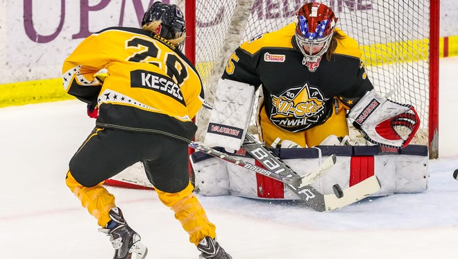 Amanda Kessel, left, shoots on goalie Katie Fitzgerald during the NWHL All-Star Game on Feb. 12 in Pittsburgh. Kessel and Fitzgerald are teammates on the New York Riveters. Kessel is a former Gopher and Fitzgerald is a former St. Cloud State goalie.