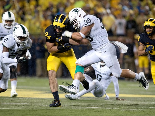 Michigan State's Joe Bachie, right, and Justin Layne, left, both from the 2016 recruiting class, are two staples of MSU's defense.