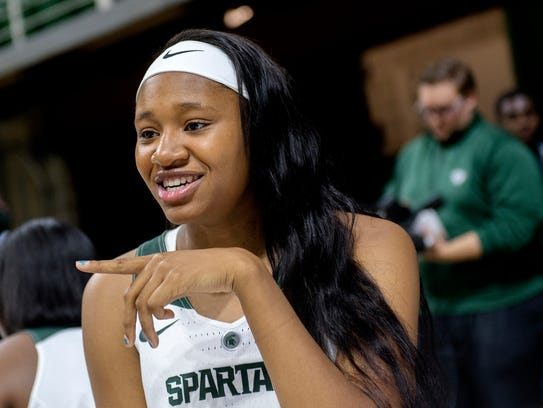 Michigan State's Sidney Cooks conducts an interview
