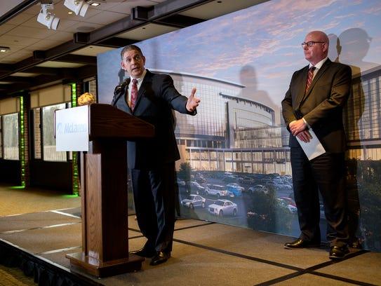 Lansing Mayor Virgil Bernero speaks during a press