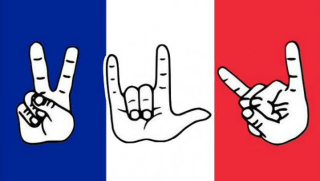 Rock group Eagles of Death Metal included this illustration with their statement on the terrorist attacks at their concert in Paris.