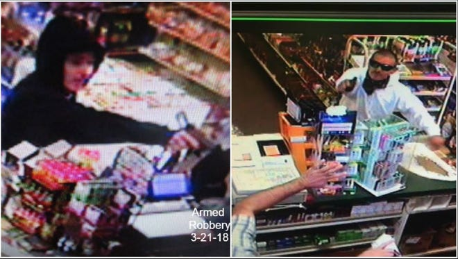 Surveillance footage shows armed robberies that happened at a Palm Springs liquor store on March 21 and April 10. Police believe the thefts were committed by the same man.