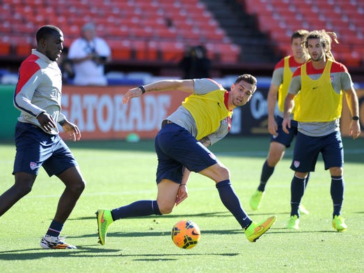 Geoff Cameron controls the ball during a practice session at Candlestick Park on May 25.