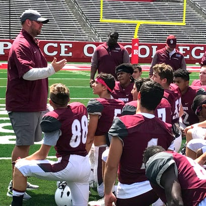 Mike Teel addresses  Don Bosco Prep after the scrimmage