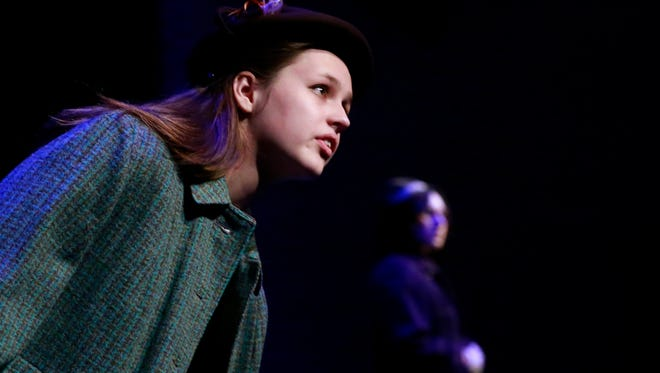 "Alice Irvin takes the stage during a  rehearsal for the San Juan College Theatre production of ""The Diary of Anne Frank"" on Feb. 25 at the Little Theatre on the SJC campus."