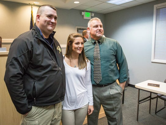 Brooke Routh, Yorktown's newest police officer, swears