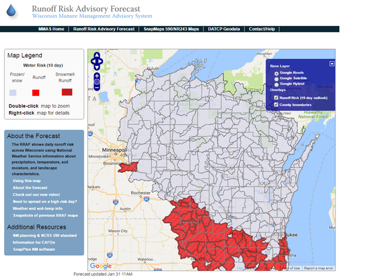 Wisconsin's Runoff Risk Advisory Forecast provides a map of the daily runoff risk across Wisconsin, using National Weather Service information about precipitation, temperature, soil moisture, and landscape characteristics.
