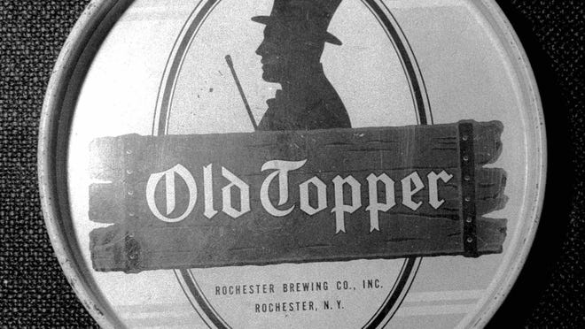 An Old Topper beer tray from the Rochester Brewing Co., Inc. Rochester Brewing merged with Standard in 1957.