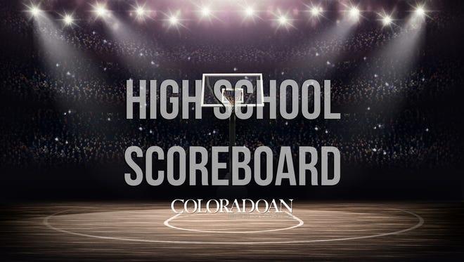 High school sports scoreboard.
