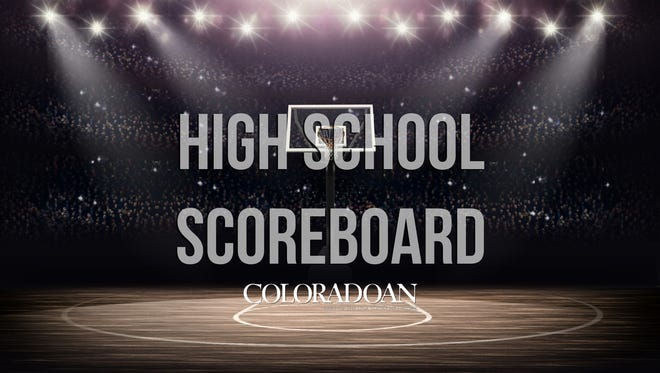 High school sports scoreboard.