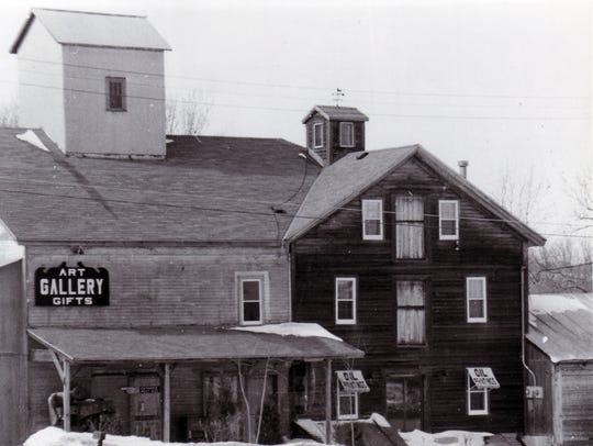 The old mill on the Onion River in Waldo before the