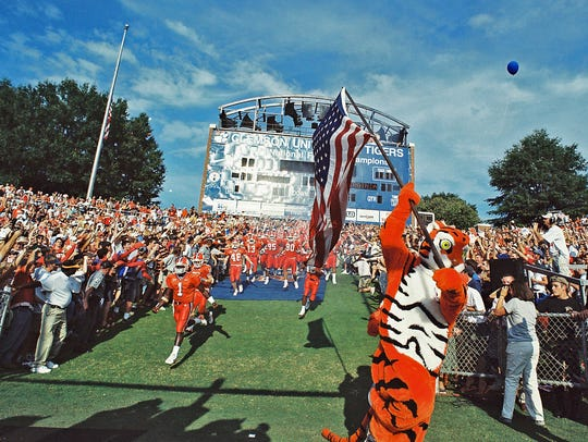 The Clemson Tiger mascot carries the United States