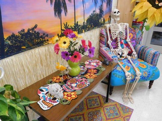 David Worrell's art room is decorated for Día de Muertos.