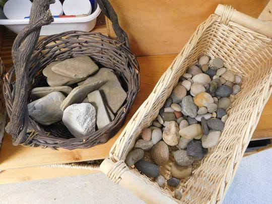 Some of the materials the class used for building their inukshuk structures.