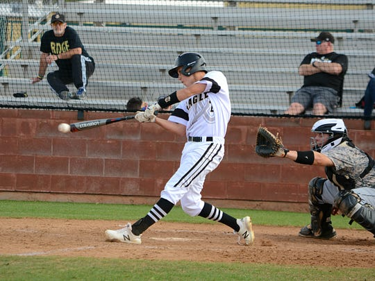 Abilene High's Wes Berry gets a base hit during the Eagles' 7-6 walk-off win over Keller Fossil Ridge on Friday at Blackburn Field.