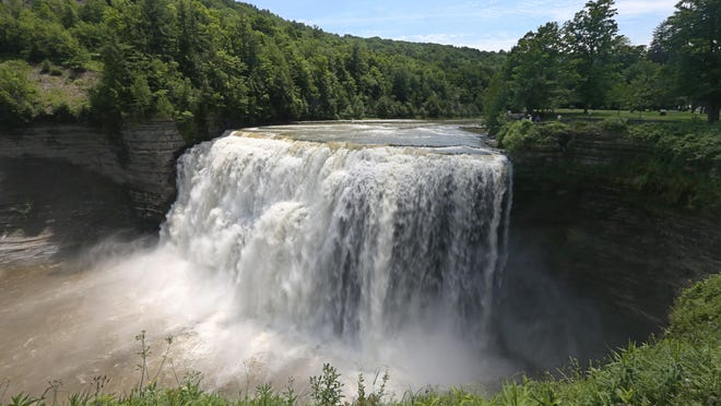 Waters of the Genesee River pour over the the Middle Falls in the south end at Letchworth State Park.