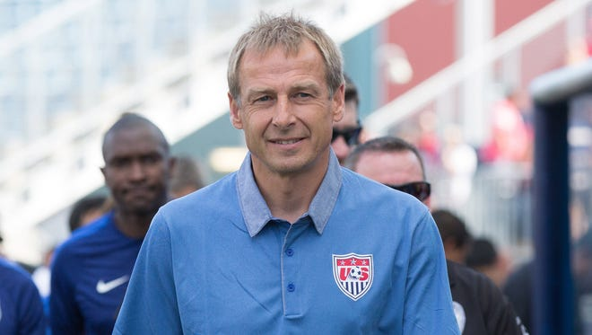 United States head coach Jurgen Klinsmann during the CONCACAF Gold Cup third place match against Panama at PPL Park. Panama won on penalty kicks after a 1-1 draw.