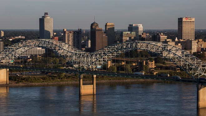 November 9, 2016 - Downtown Memphis seen from the west side of the Mississippi River.