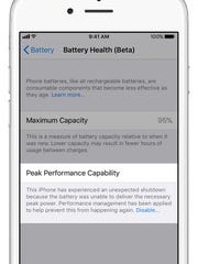 Battery health performance