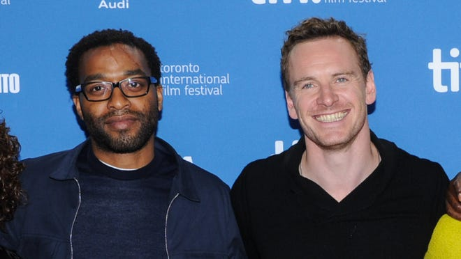 Chiwetel Ejiofor and Michael Fassbender at the '12 Years A Slave' press conference at TIFF.