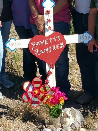 The roadside memorial site for Yavette Ramirez, 15,