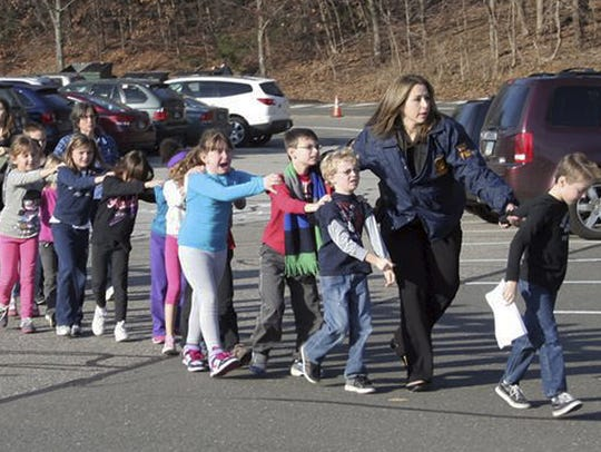 Photo of students during the Sandy Hook school shooting.