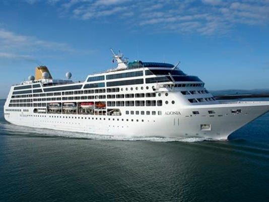 FILE - This undated file photo provided by Carnival Corp. shows the 710-passenger Adonia ship.