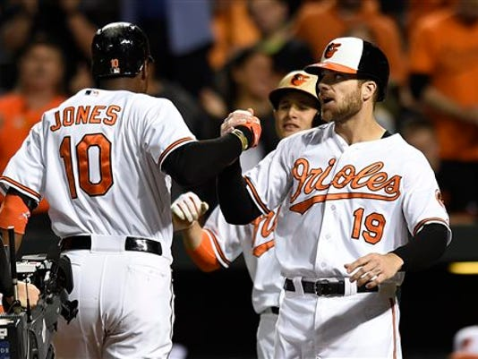 Baltimore's Adam Jones, left, is congratulated by Chris Davis, right, and Manny Machado after hitting a three-run home run against the Kansas City Royals in the first inning on Sunday in Baltimore.