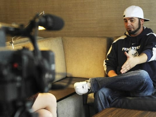 Former 'NSYNC member Chris Kirkpatrick gives an interview at Marriott by Courtyard in April. Kirkpatrick is in town to participate in the York MS Walk. A videographer was recording the events of the weekend to promote future events.