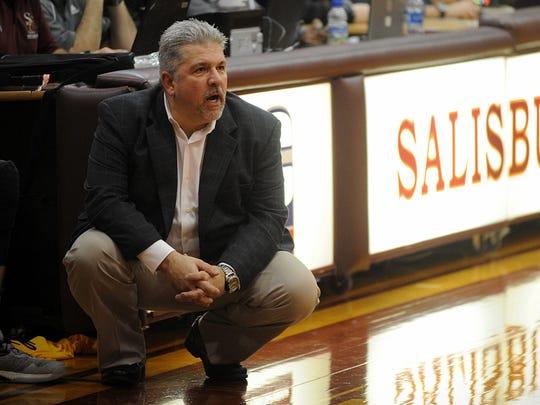 Salisbury head coach Any Sachs watches as his team