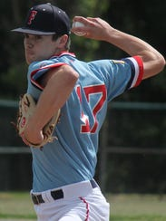Livonia Franklin starting pitcher Kolby Dewhirst throws