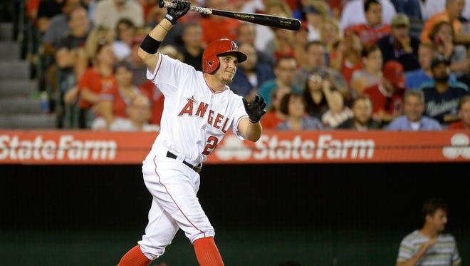 Tony Campana bats for the Angels in September.