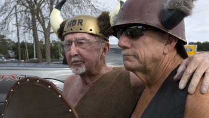 Self-proclaimed Vikings Whit Johnson, left, and Dan Anderson will take their annual Polar Bear Dip at Florabama on New Years' Day, and will be joined in the first-day-of-the-year ritual by their Vikingette cheerleaders.