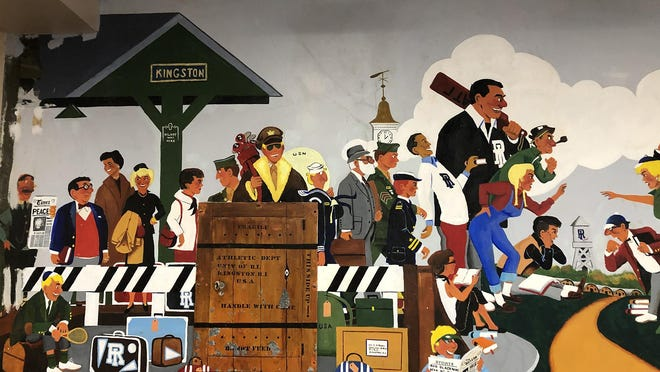 A section of a mural by Arthur Sherman painted in 1954 at the University of Rhode Island.