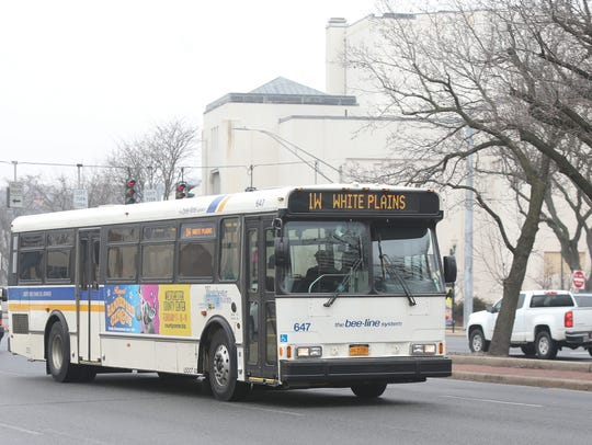 A bee-line bus travels on Route 119 in White Plains