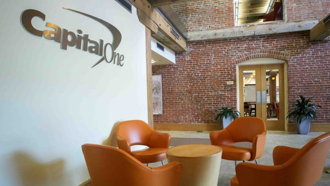 The lobby at Capital One 360 in Wilmington. Capital One will remain in Wilmington, consolidating its space into two buildings.