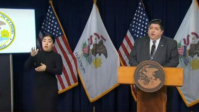 Gov. JB Pritzker talks to reporters at his daily COVID-19 briefing Wednesday in Chicago, addressing potential next steps in response to the failure of a graduated tax constitutional amendment.