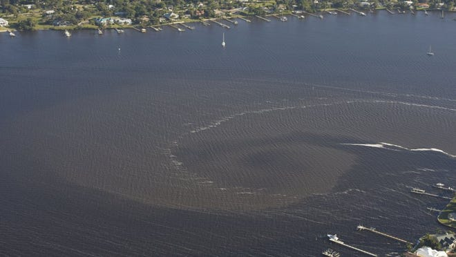 Murky waters from Lake Okeechobee discharges stain the St. Lucie River on Feb. 11, 2016 near Palm City and Stuart after 11 days.