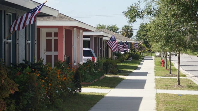A row of homes built by Habitat for Humanity lines a road in Indiantown's Carter Park. (CONTRIBUTED PHOTO BY HABITAT FOR HUMANITY)