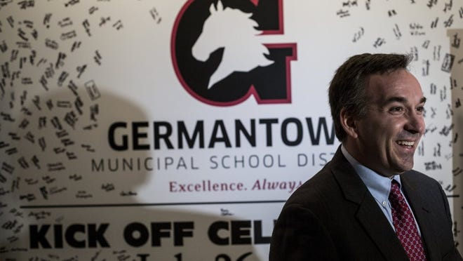 January 21, 2016 - Jason Manuel, superintendent of Germantown Municipal Schools, speaks with media after announcing later school start times for the 2016-2017 school year.   (Brad Vest/The Commercial Appeal)