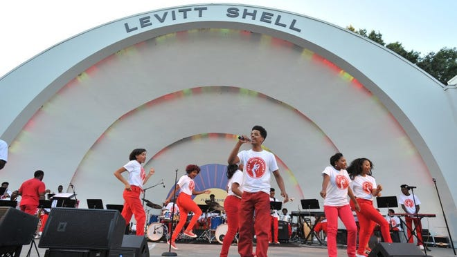 Members of the Stax Music Academy perform at the Levitt Shell.